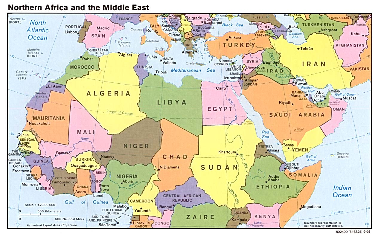 north africa map of countries